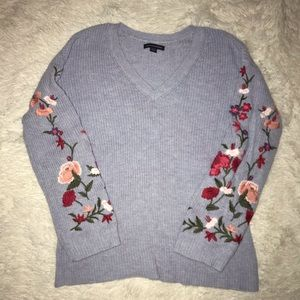 baby blue floral knit american eagle sweater